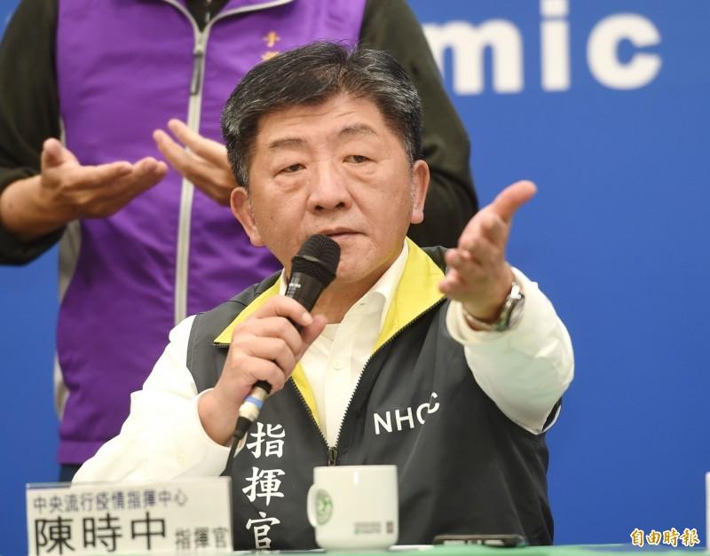 根據TVBS民調中心最新調查結果,民眾對衛福部長陳時中滿意度高達82%,僅6%不滿意。(記者方賓照攝)