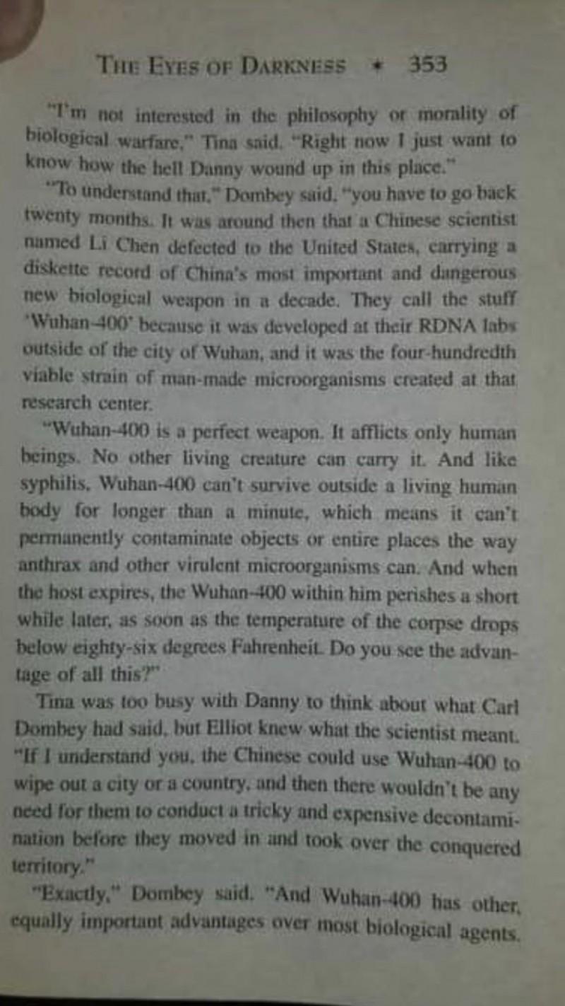推特網友貼出《黑暗之眼》紙本書籍,內容提到「武漢-400」病毒。(圖取自推特)