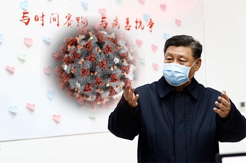 中國領導人習近平近期露面,對中國防疫工作下指導棋。(本報合成)