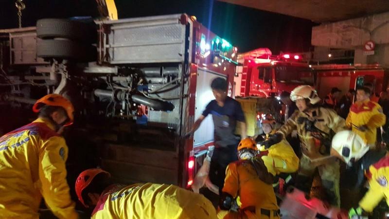 車禍造成消防員1死4傷。(記者陳文嬋翻攝)