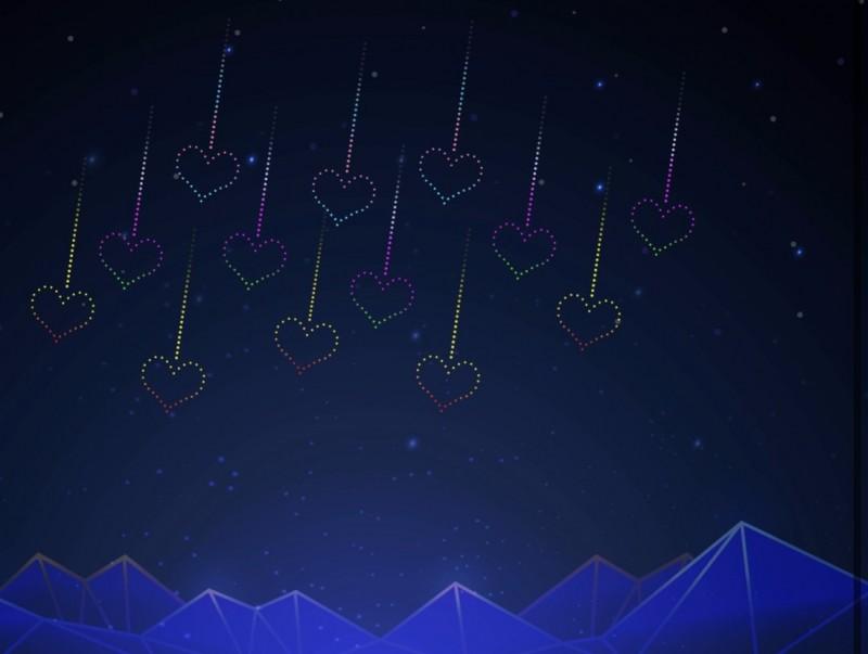 台灣燈會首創全台規模最大無人機展演,后里森林園區將有「情人節限定」愛的流星雨。(記者張軒哲翻攝)