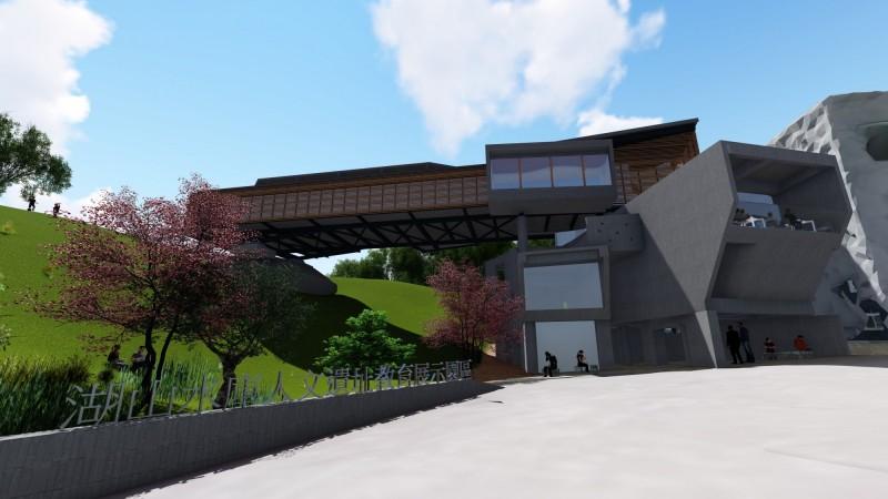 人文生態暨遺址教育展示館造型獨特,配實木集成材的大跨距木桁架空橋吸睛。(記者詹士弘翻攝)