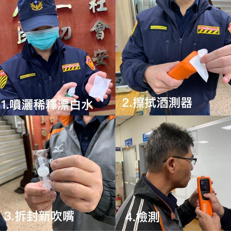 警政署給予各警察機關執勤酒測的相關規定,避免成傳染武漢肺炎途徑。(北市警信義分局提供)