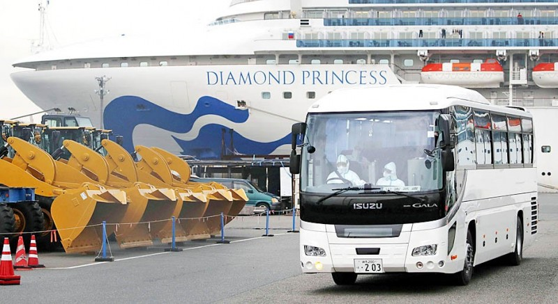 A bus believed to be carrying elderly passengers of the Diamond Princess cruise ship leaves the Daikoku Pier Cruise Terminal in Yokohama, Japan, yesterday.  Photo: Reuters / Kyodo News