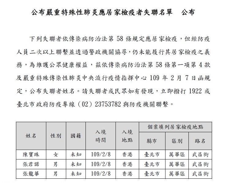 來台旅遊的3名香港人須居家檢疫隔離者卻失聯,目前人已找到,議員也要求環保局前往出遊地點消毒。(記者陳璟民攝)