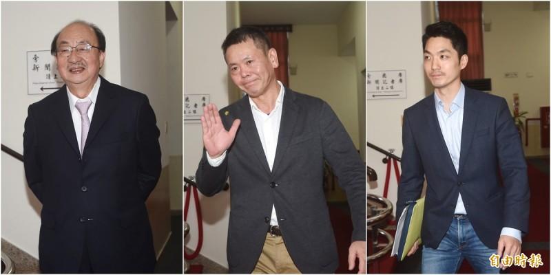 針對立法院開議日期等案,立法院14日進行朝野協商。民進黨團總召柯建銘(左起)、國民黨團總召林為洲與國民黨團書記長蔣萬安出席。(記者方賓照攝)