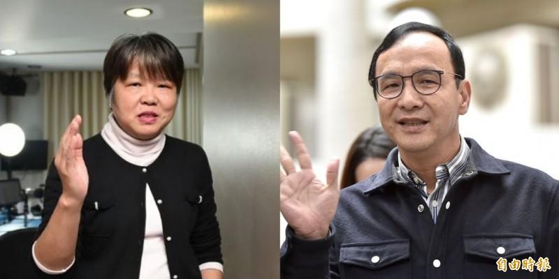 朱立倫(右)以美國、日本作為「典範」抨擊台灣政府,黃光芹(左)駁斥,「請問朱立倫前市長,40萬台商、還要攜家帶眷,達到你『家庭團聚』的要求,換做是你,你要怎麼做?」(資料照,本報合成)