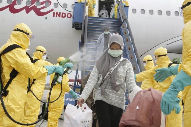 印尼本月2日從中國撤回243名公民,目前印尼確診人數為0例。(美聯社檔案照)
