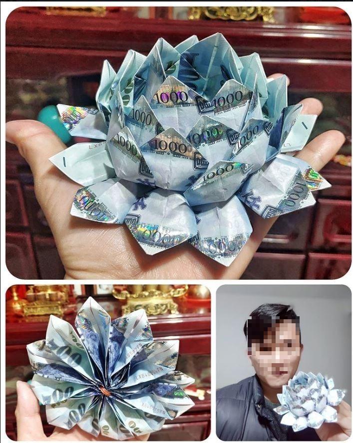 原PO貼出自己折的鈔票花,讓網友非常羨慕。(圖擷自爆廢公社)