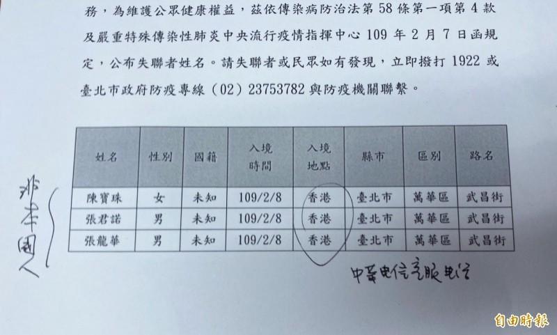 台北市政府今日傍晚表示,3名從香港入境台灣的人士本應接受居家檢疫卻失聯,因此公布姓名發動全國協尋。(資料照)