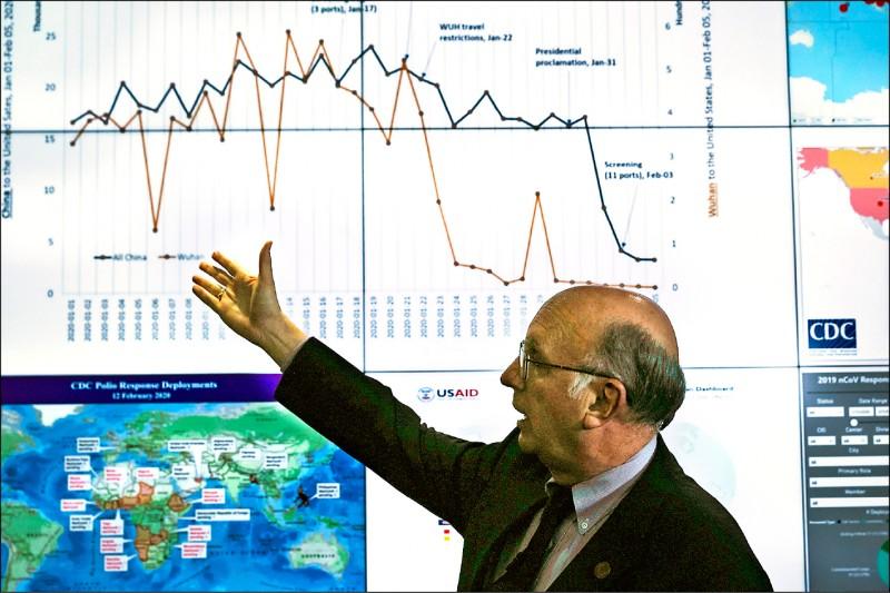 美國政府十三日邀請媒體參觀美國疾病管制中心位在亞特蘭大總部內的緊急事件應變中心,由資深顧問羅斯(Ed Rouse)針對中國新型冠狀病毒肺炎疫情進行簡報。(歐新社)