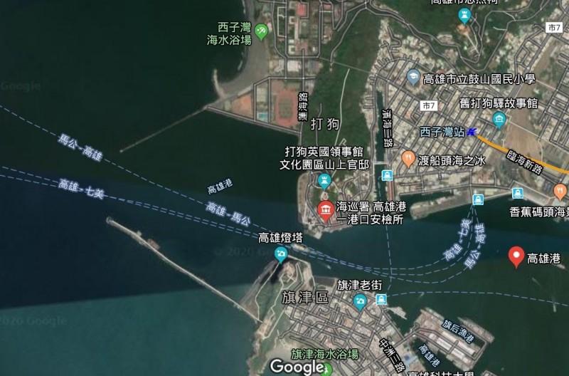 高雄港一港口外海,驚傳外籍船員落海意外。(取自Google地圖)