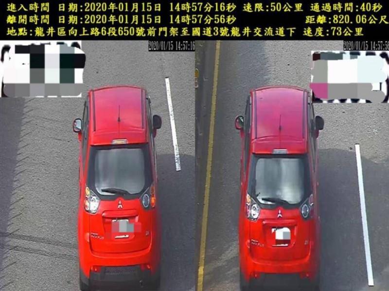 市警局在向上路六段建置的區間測速設備,只要超速違規通通無所遁逃。(記者許國楨翻攝)