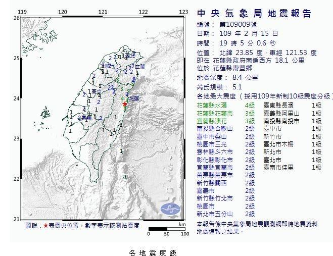 第二波地震震央同樣位於花蓮縣壽豐鄉,規模5.1,地震深度8.4公里。花蓮縣水璉鄉測得最大震度4級,台北、新北市也測得最大震度2級。(擷取自中央氣象局)