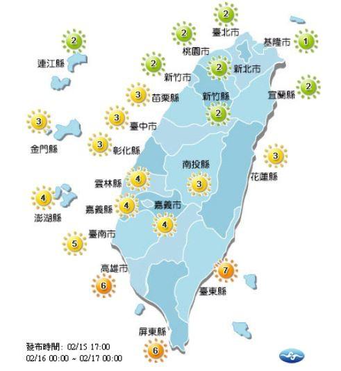 紫外線方面,明天基隆市、宜蘭縣、台北市、新北市、桃園市、新竹縣市、連江縣為綠色「低量級」;台東縣、高雄市以及屏東縣為橘色「高量級」,其他地區則皆為黃色「中量級」。(圖擷自中央氣象局)
