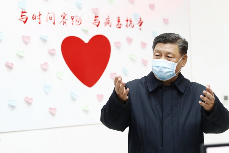 Chinese President Xi Jinping speaks during an inspection of the Chinese Centers for Disease Control and Prevention in Beijing on Monday last week. Photo: AP