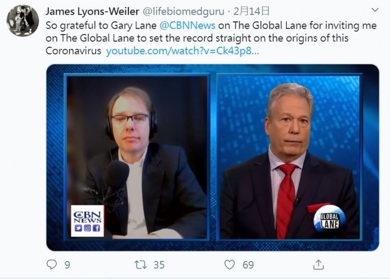武漢肺炎疫情持續失控,中國官方始終否認病毒來自武漢P4實驗室與人為製造的說法;然而,美國學者里昂斯維勒日前指出,「新型冠狀病毒有使用人造技術,確定來自於實驗室」。(圖擷取自Twitter「James Lyons-Weiler」)