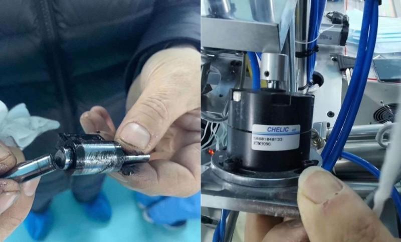 中國黑龍江省最大規模的口罩生產企業齊齊哈爾恆鑫醫療用品有限公司,從1月26號起24小時生產口罩,卻有1條生產線在2月14日中斷,疑似是操作不當導致「台灣氣立」生產的迴轉氣壓缸故障。(圖取自微信)