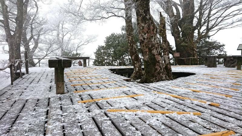 山毛櫸步道終點平台今天上午仍有殘雪。(記者江志雄翻攝)