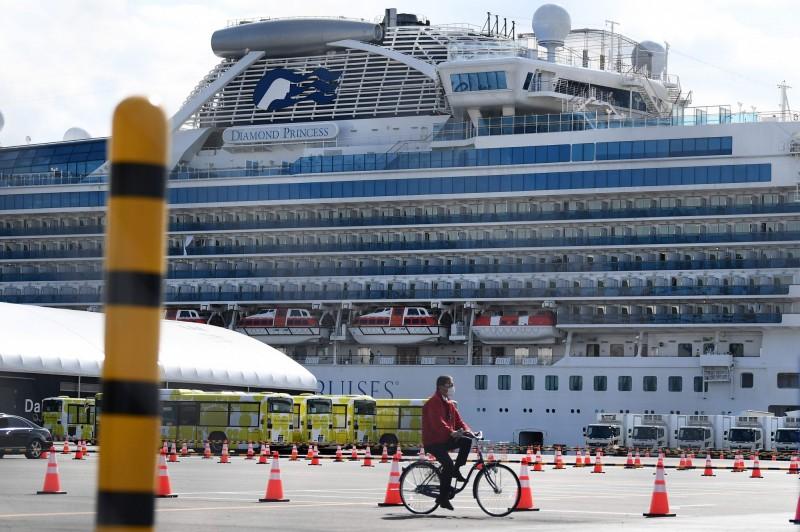 停泊在日本橫濱的鑽石公主號感染武漢肺炎的疫情嚴重,已經有超過500人確診,是中國以外最嚴重的群聚感染地。(法新社資料照)