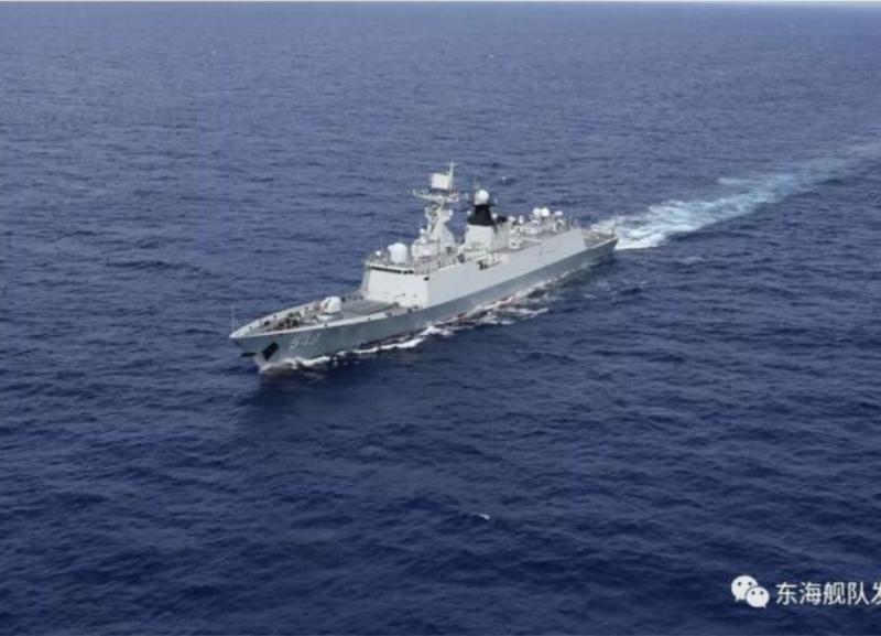 中國解放軍東部戰區海軍艦隊的常州軍艦。(圖取自東海艦隊微信公眾號)