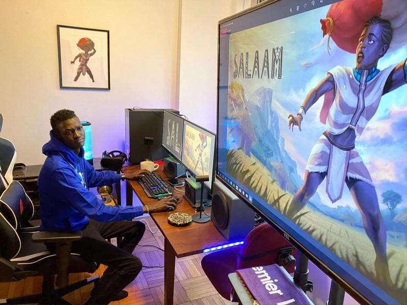 來自非洲南蘇丹難民家庭的25歲青年軟體開發者梅恩(Lual Mayen),設計出一款「難民生存」遊戲,讓玩家可以從中體驗難民的掙扎和艱辛,梅恩立志要用這個方式「改變世界」。圖為梅恩及遊戲美術海報。(路透)