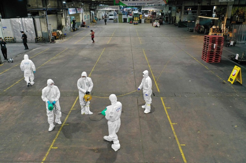 南韓今日武漢肺炎疫情大爆發,單日確診病例暴增53例,更出現一起死亡個案。(法新社)