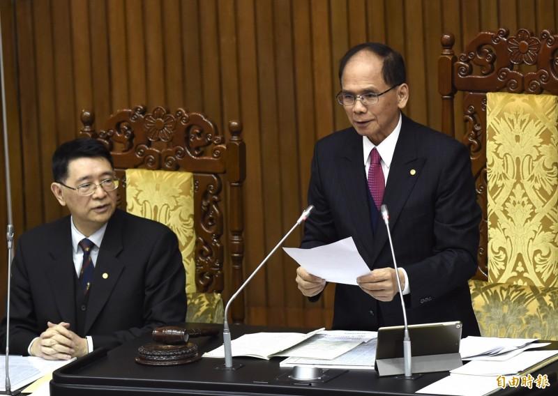 立法院會今天通過共同聲明,表達支持政府持續爭取參與世界衛生組織(WHO),嚴厲譴責中國阻撓台灣參加WHO及世界衛生大會(WHA)的打壓行為。(記者簡榮豐攝)
