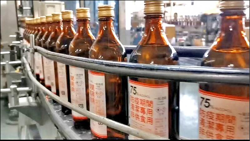 台灣菸酒公司昨宣布,300ml的75度防疫酒精,除原本自有門市及全台6000多家健保藥局外,下週一起也將陸續供貨至全台四大超商銷售,售價40元。(台酒提供)