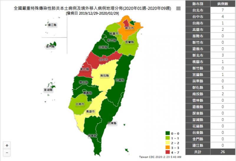 衛福部疾管署23日公布國內武漢肺炎病例在台灣地理分布的情形。(擷自疾管署網站)