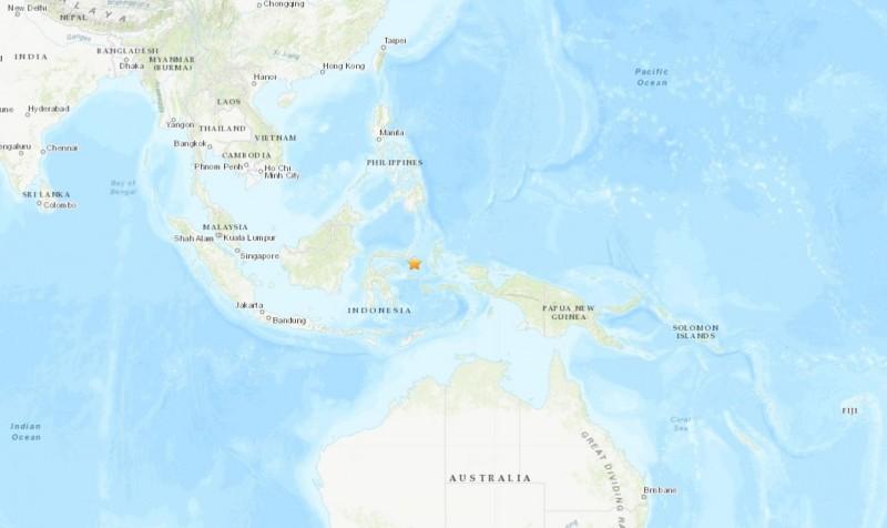 印尼東方海域今早10時許傳出規模5.3地震。(圖擷自USGS)
