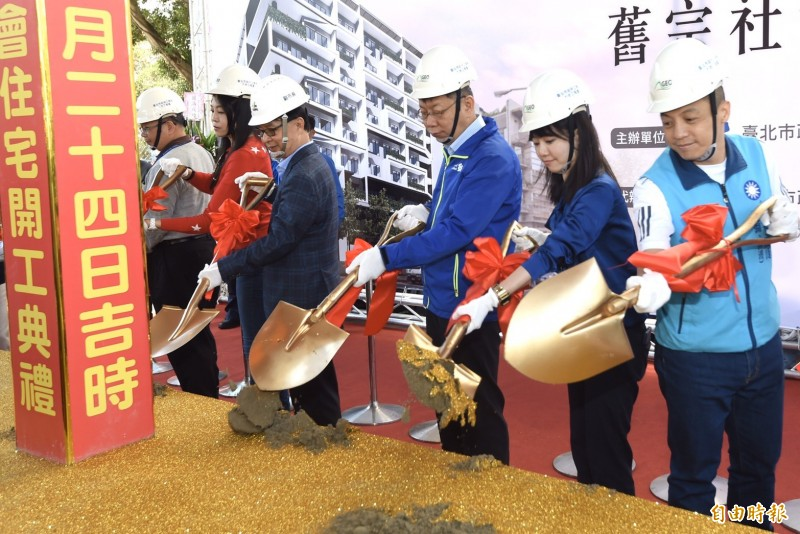 台北市長柯文哲今早出席內湖舊宗社會住宅開工典禮。(記者簡榮豐攝)