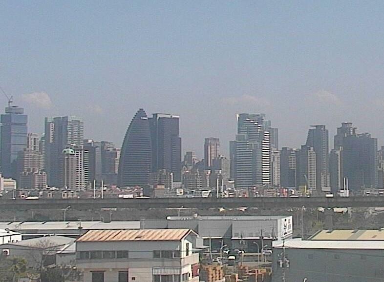 台中市空氣品質不佳,16個空品監測站中,3站飆紅害,圖為西屯測站周圍影像。(記者黃鐘山翻攝)