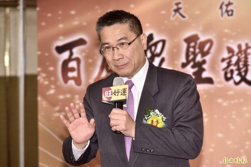 內政部長徐國勇今25日出席「百廟眾聖護蒼生 -為全球疫情祈福法會」會前記者會。(記者塗建榮攝)