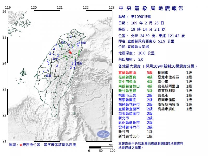 宜蘭縣今(25)日晚間7時14分發生規模5地震,宜蘭縣出現最大震度5級。(圖擷自中央氣象局)