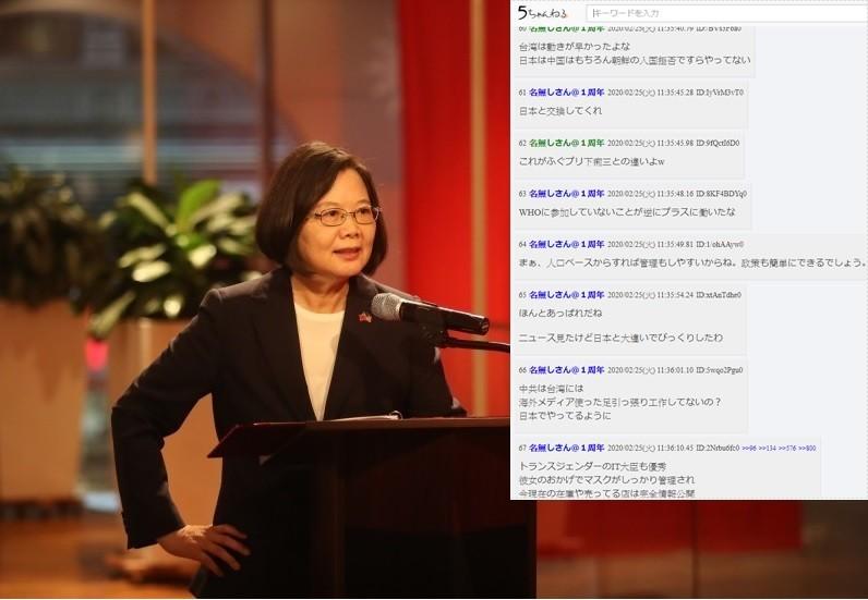武漢肺炎疫情蔓延全球,台灣民意基金會24日公布最新民調顯示,台灣人對政府防疫表現評價平均分數高達80分以上;相關統計被轉錄至日本社群平台後,網友紛紛高喊「請來統治日本」、「跟安倍差好多啊」。(總統府提供,合成圖)