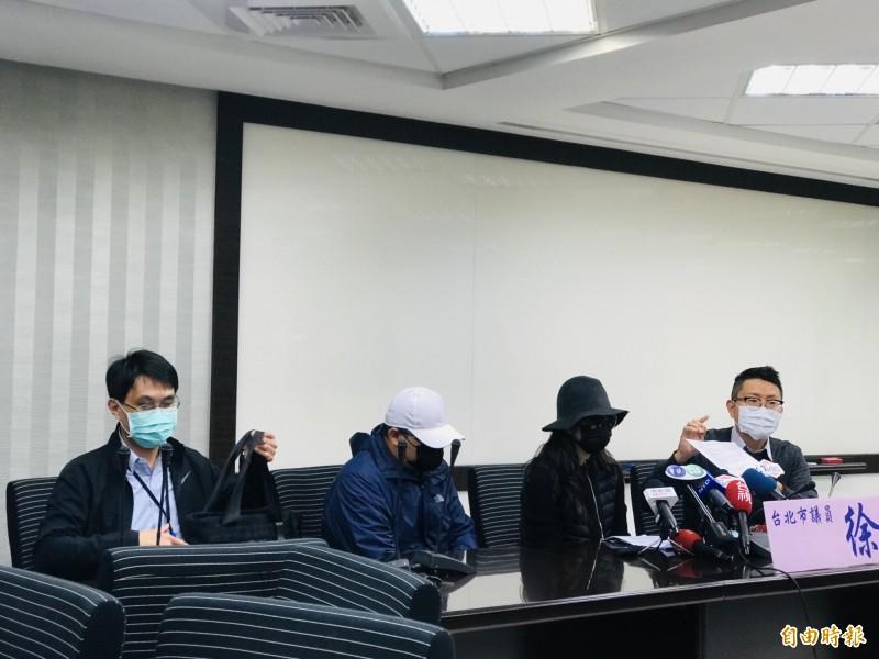 台北市議員徐立信今偕同家屬出面開記者會,批評相關單位無任何作為。(記者楊心慧攝)