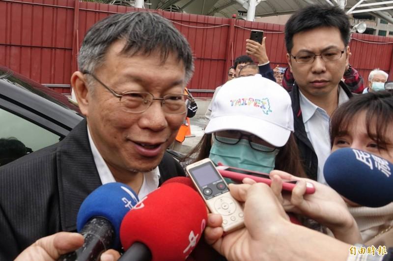 今天下午3點台北市應變中心提升為一級開設,並由市長柯文哲擔任指揮官。(記者劉信德攝)