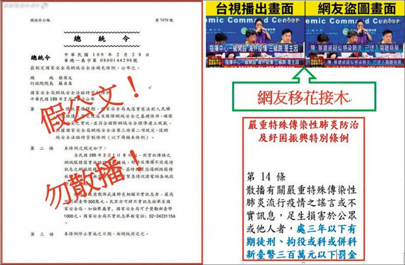 中國網軍這一波資訊作戰的主要對象還包括中國人。尤其針對網路翻牆而來的中國人,進行「由內而外的維穩」。圖為網路流傳的不實總統令及疫情假訊息。(刑事局提供)