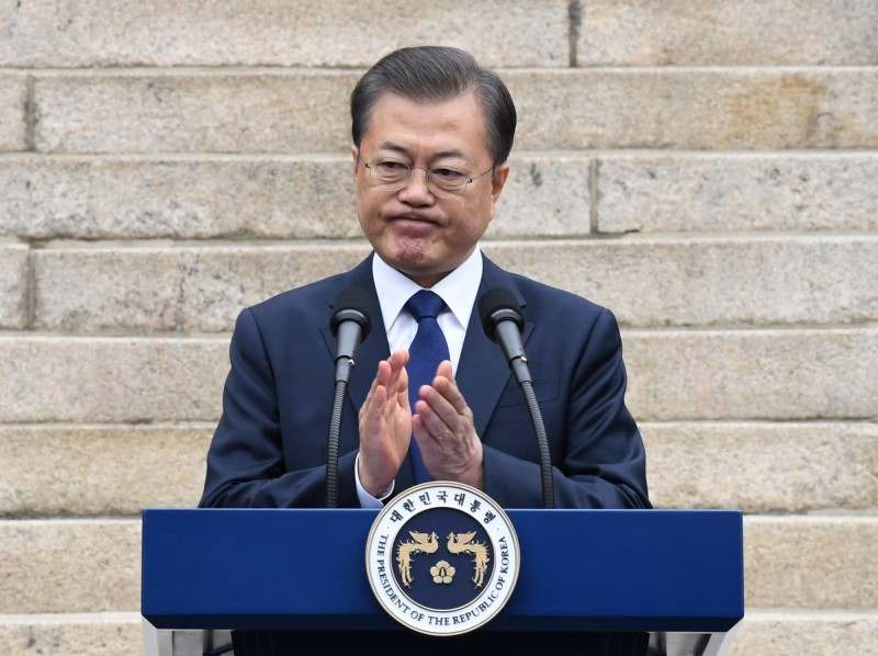 韓國總統文在寅今(3月1日)發表三一談話,強調會和北韓、日本一起攜手對抗武漢肺炎。(法新社)
