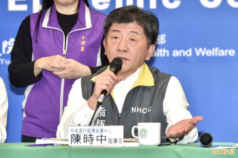 中央流行疫情指揮中心指揮官陳時中,今對又新增無症狀感染者一事呼籲民眾做好已知防護,沒必要自己嚇自己。(記者塗建榮攝)