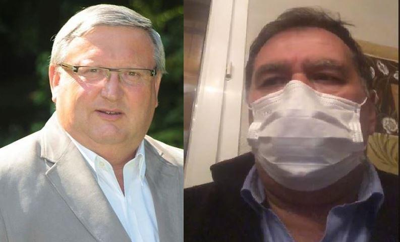 法國瓦茲省克雷皮市長福爾蒂(圖左)與上薩瓦省拉巴勒姆德西蘭吉市長戴維(圖右)分別確診感染武漢肺炎。(圖擷取自臉書)