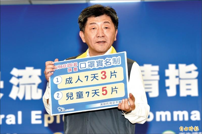 中央流行疫情指揮中心指揮官陳時中宣布,三月五日(週四)起將實施實名制新制,成人口罩增為七天可買三片、兒童口罩則增為五片。(記者塗建榮攝)