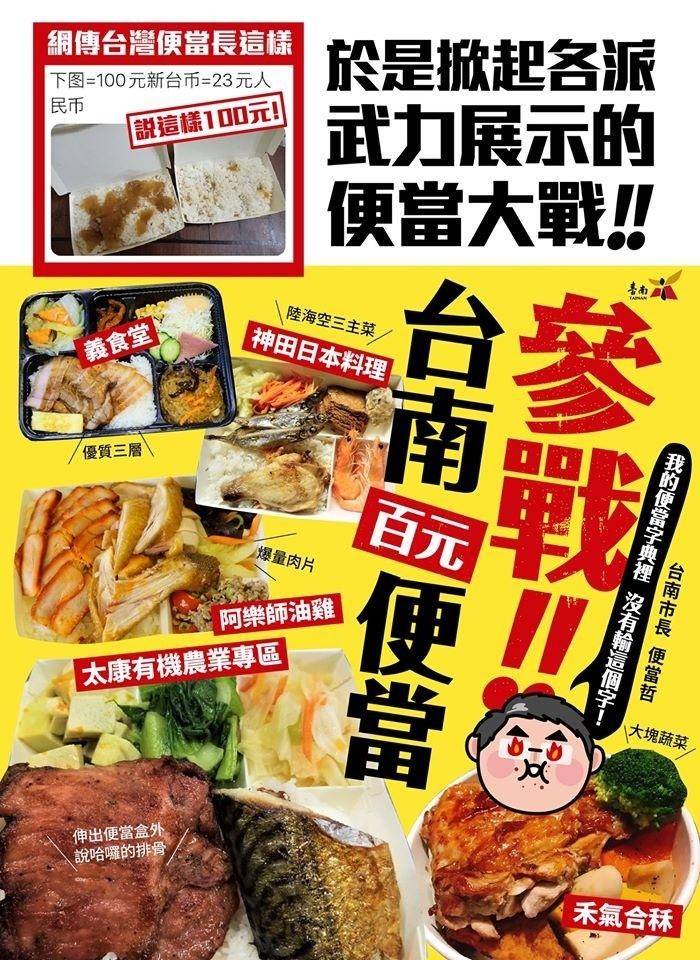 台南市長黃偉哲臉書PO出台南各式百元便當,趁勢跟風宣傳台南美食。(取自黃偉哲臉書)