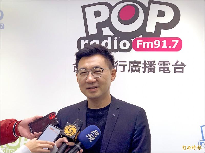 國民黨主席候選人江啟臣昨接受廣播專訪,他認為這次補選投票率頂多3成,但仍有自信勝選。(記者陳昀攝)
