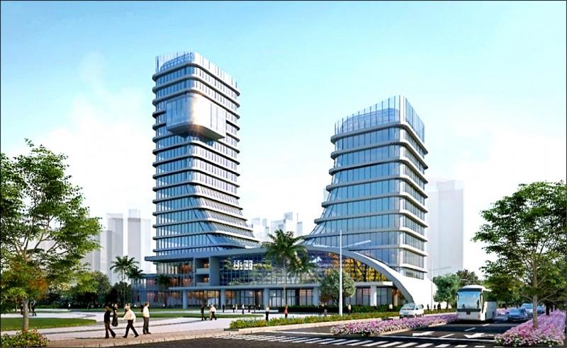 議會通過「亞洲.矽谷創新研發中心」統包工程案,圖為建築模擬圖。(航空城公司提供)