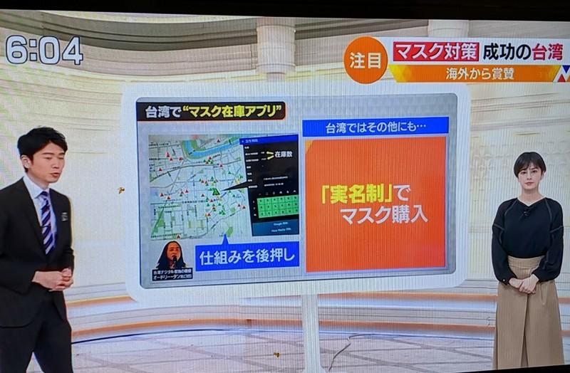 日本TBS電視5日傍晚播出的新聞節目「n-st」介紹台灣口罩實名制。(取自日本TBS電視)
