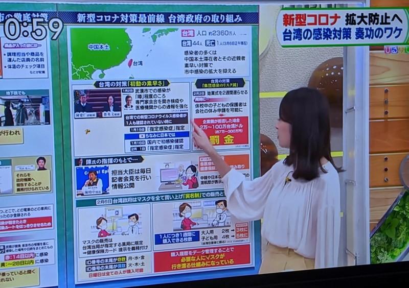 TBS王牌新聞節目「HIRUOBI!」,6日以專題完整介紹台灣防疫措施奏效。(取自日本TBS電視)