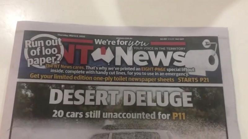 以幽默著稱的澳洲小報《北領地新聞》在5日出版時增印8頁空白版面,供讀者當作廁紙使用,諷刺澳洲人恐慌搶購衛生紙的現象。(路透)