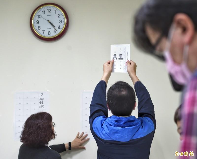 國民黨7日舉行黨主席選舉,投票時間截止後,隨即進行開票。(記者方賓照攝)